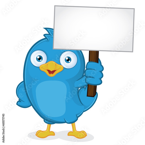 Blue Bird Holding Sign