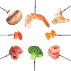 Fonduespieße mit Fleisch und Gemüse
