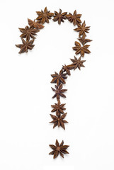 Question mark made of star anise