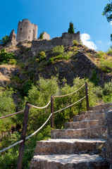 Stairs leating to Quertinheux tower at Lastours
