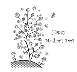 Greeting card with decorative tree for Mothers day
