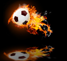 Burning soccer ball