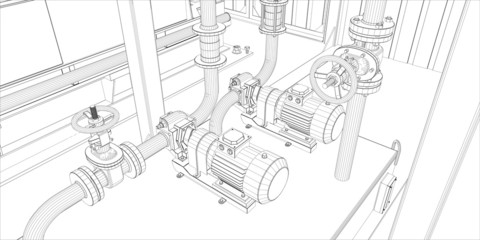 Industrial equipment. Wire-frame 3d render. Vector format