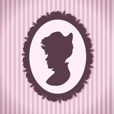 Vintage style woman silhouette against striped background