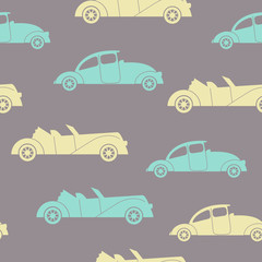 Retro cars seamless vector background. Children illustration