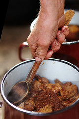 Pork chunks in a pot