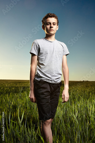Teenager in a wheat field