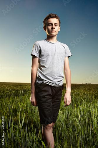 Teenager in a wheat field