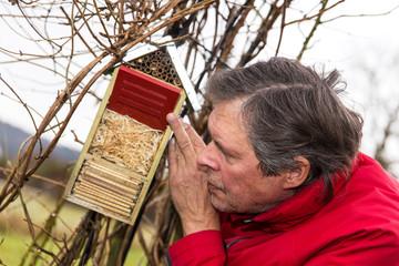 Senior beobachtet Insektenhotel im Garten