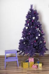 Purple christmas Tree and Christmas gift boxes