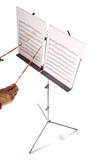 music stand with sheets and director