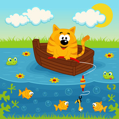 Cat on a boat fishing in a pond - vector illustration