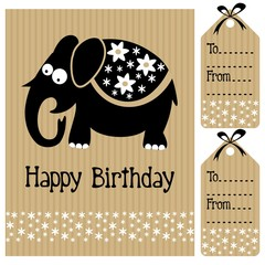 Birthday baby shower card invitation with elephant, flowers
