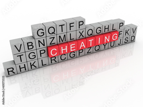 3d Illustration of word cheating using alphabet cubes.