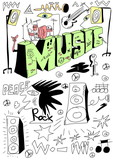 Doodle music stage background, hand drawn design elements