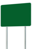 Blank Green Signboard Road Sign Isolated, Large Perspective Copy
