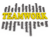 3d imagen a word cloud of teamwork related items