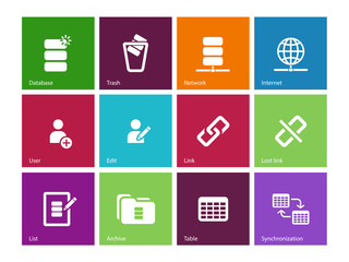 Database icons on color background.