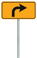 Right turn ahead route road sign, yellow isolated roadside