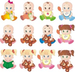 Baby vectors isolated on white background collection