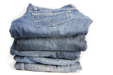 Neat Stack of Blue Jeans