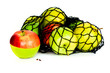 green, red and yellow apples in in mesh bag isolated