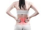 female body with back inflammation. isolated poster