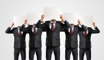 image of a businessmen standing in a row
