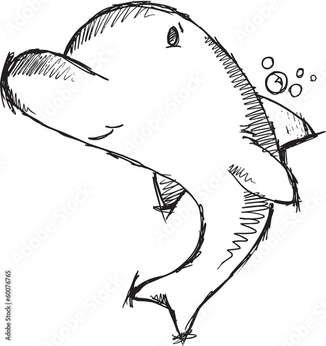 Cute Dolphin Sketch Drawing Vector