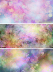 3 x colourful bokeh website header panels
