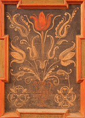 Stitnik - Detail of flora motive on renaissance bench