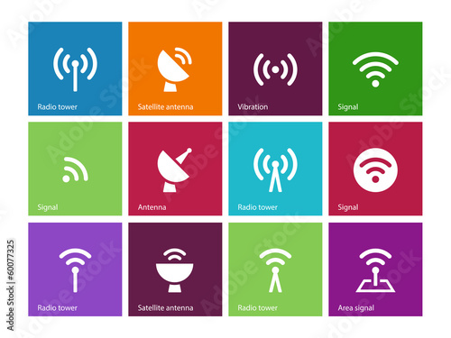 Radio Tower icons on color background.