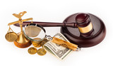 scales,gavel,  money and magnifying glass