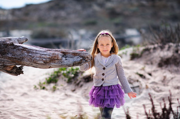 Fashion little girl in casual clothes outdoor