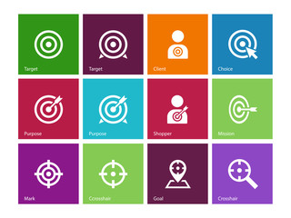 Target icons on color background.