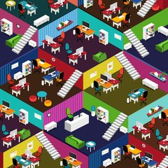 Many Isometric Office Interiors and Furniture Illustration