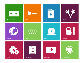 Tools icons on color background.