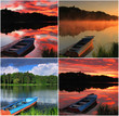 Collage of  landscapes with a boat