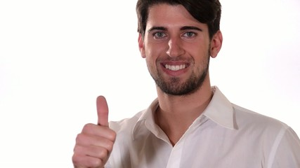 a boy doing thumb-up sign over white background