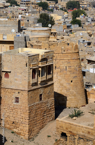 Tower of famous Jaisalmer fortress, Thar desert,India