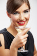 Young happy woman in black dress with glass.