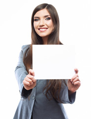 Business woman hold banner, white background  portrait.