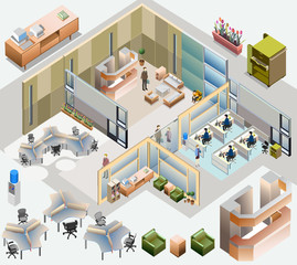 office isometric. with completed workstation, meeting room