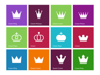Crown icons on color background.