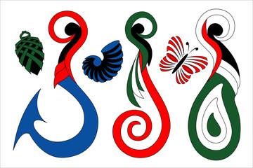 Maori Koru Color Design Hook and Mere Icons