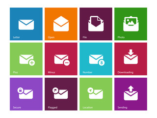 Email icons on color background.