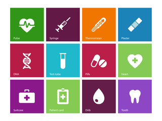 Medical icons on color background.