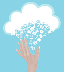 Hand reaching for Cloud Computing Icons