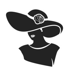 Beautiful female face with hat icon. vector illustration