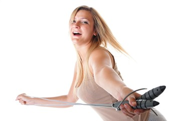 young fitness woman with jump rope isolated